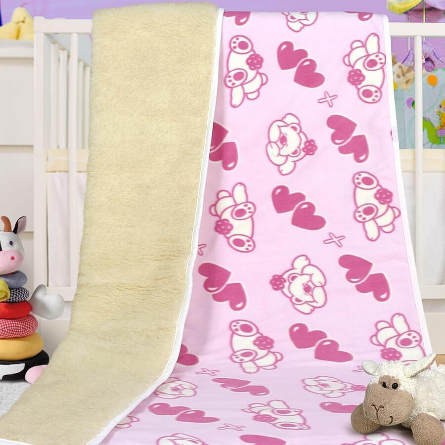 Dětská deka merino/fleece medvídek růžový