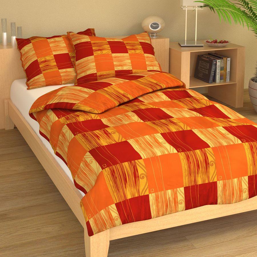 Krep čtverce oranžovo-červené 9223-43