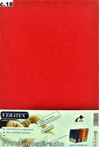 Froté prostěradlo červená Veratex 210 g
