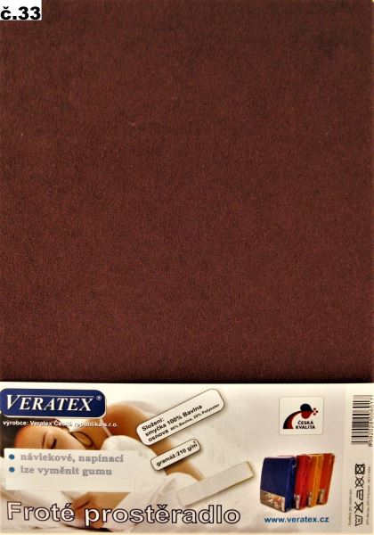 Froté prostěradlo hnědá Veratex 210 g
