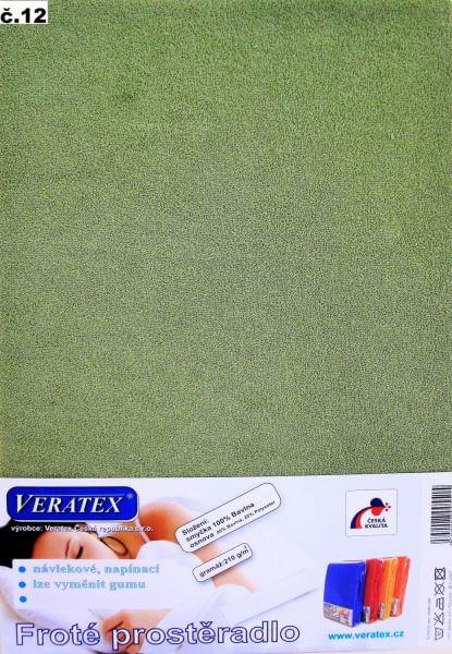 Froté prostěradlo stř. zelená Veratex 210 g