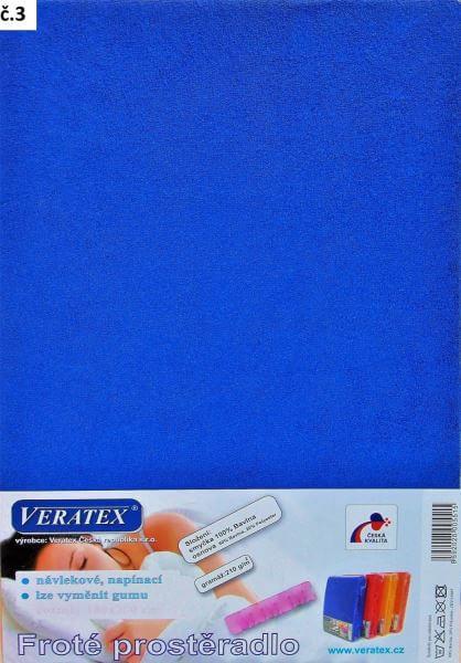 Froté prostěradlo tm. modrá Veratex 210 g