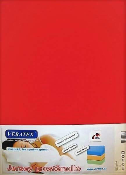 Bavlněné Jersey prostěradlo červená Veratex 180 g