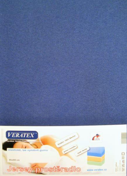 Bavlněné Jersey prostěradlo nám. modrá Veratex 180 g