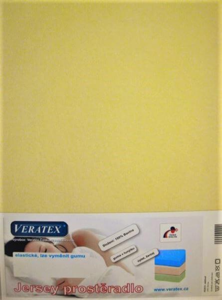Bavlněné Jersey prostěradlo sv. žlutá Veratex 180 g