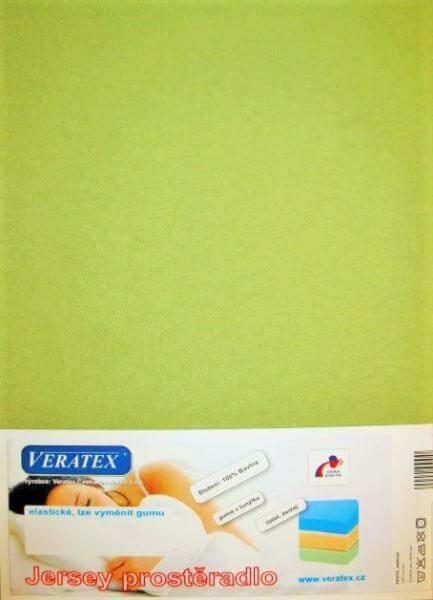 Bavlněné Jersey prostěradlo žlutozelená Veratex 180 g