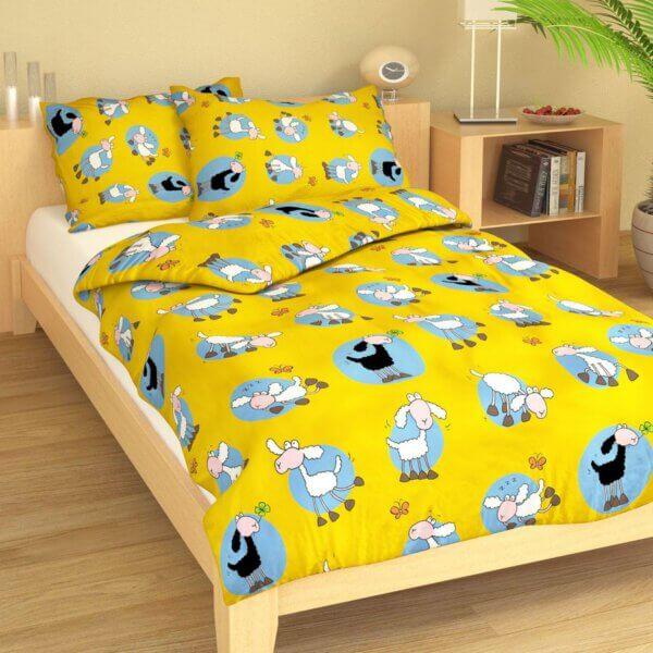 Dětské povlečení bavlna ovečka žluto-modrý podklad