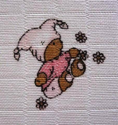 Libštátské pleny potisk Méďa růžový 70×70 cm – 1 ks