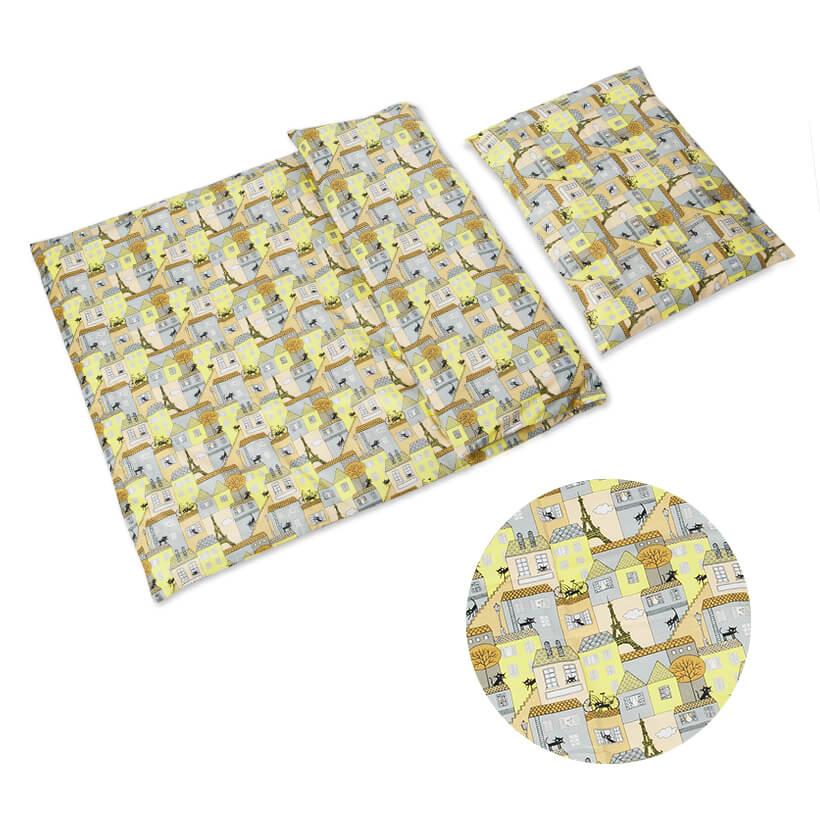 Dětské povlečení bavlna domečky žluto-šedé