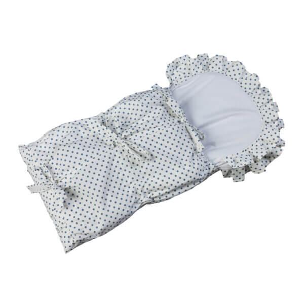 Zavinovačka s tkanicemi a kanýrem bílá/puntík šedý