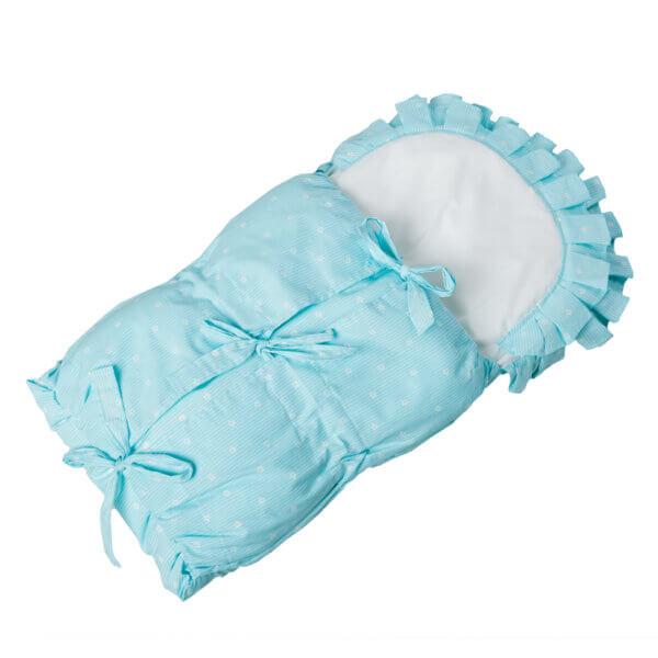 Zavinovačka s tkanicemi a kanýrem světle modrá