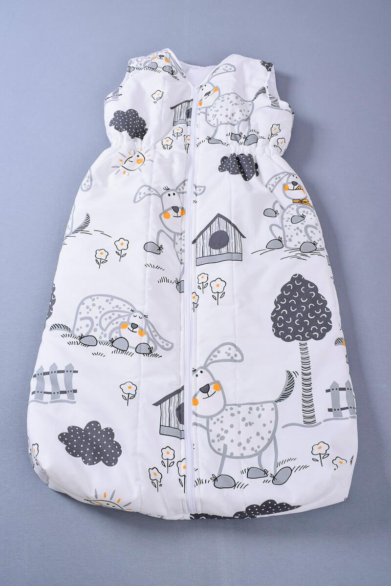 Dětský spací pytel s šedými pejsky