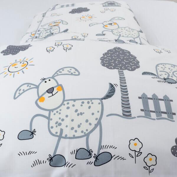 Dětské povlečení bavlna šedí pejsci