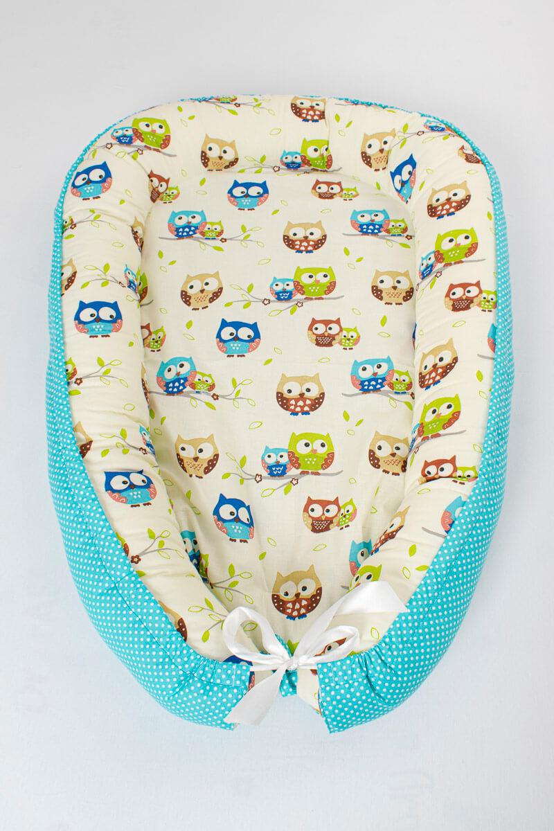 Hnízdečko pro miminko sovičky/tyrkysové puntíky