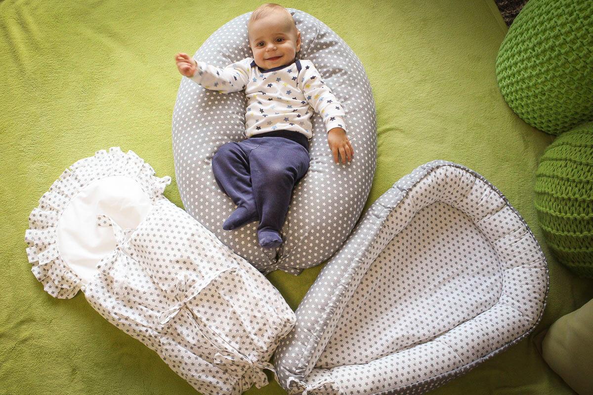 Hnízdečko pro miminko hvězdičky šedé
