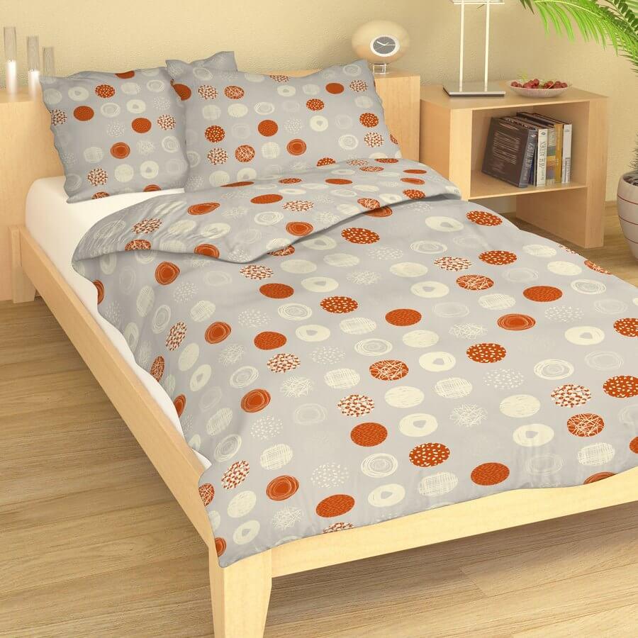 Bavlna oranžová kolečka na béžové 104-103