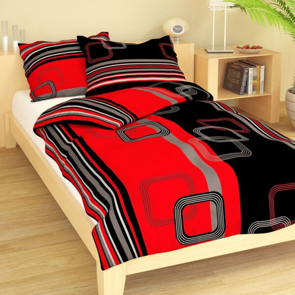 Bavlna geometrie černo-červená 9295-41