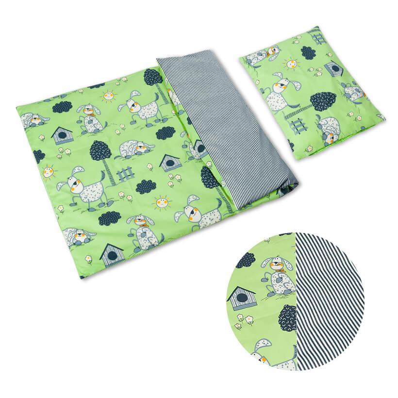 Dětské povlečení bavlna zelení pejsci s pruhy