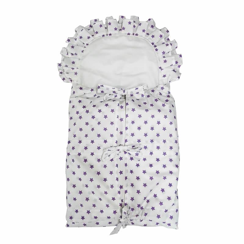 Zavinovačka s tkanicemi a kanýrem bílá/fialové hvězdičky