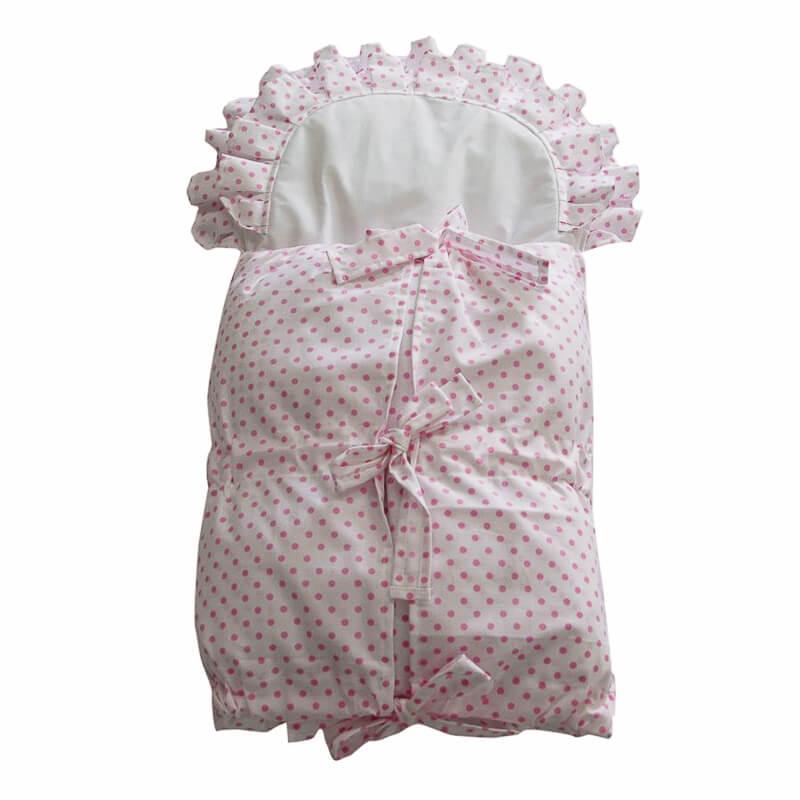 Zavinovačka s tkanicemi a kanýrem bílá/růž. puntík