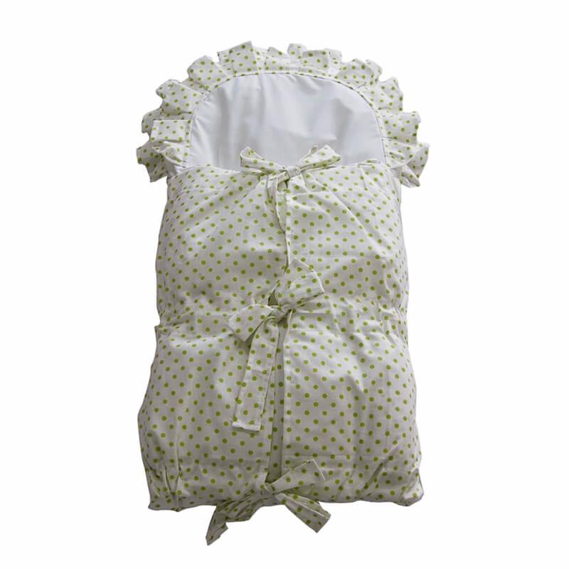 Zavinovačka s tkanicemi a kanýrem bílá/puntík zelený
