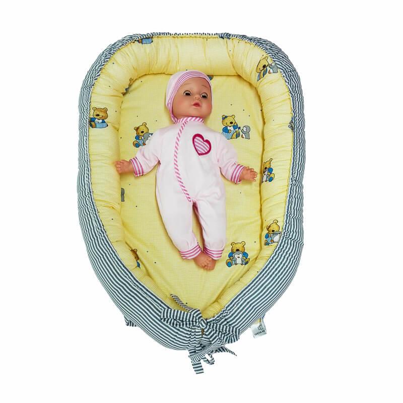 Hnízdečko pro miminko medvídci/šedý proužek