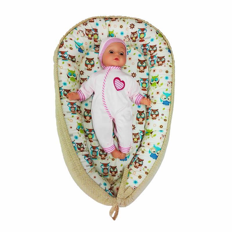 Hnízdečko pro miminko sovičky/béžový puntík