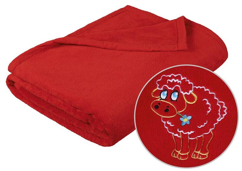 Dětská deka korall mikro červená ovečka
