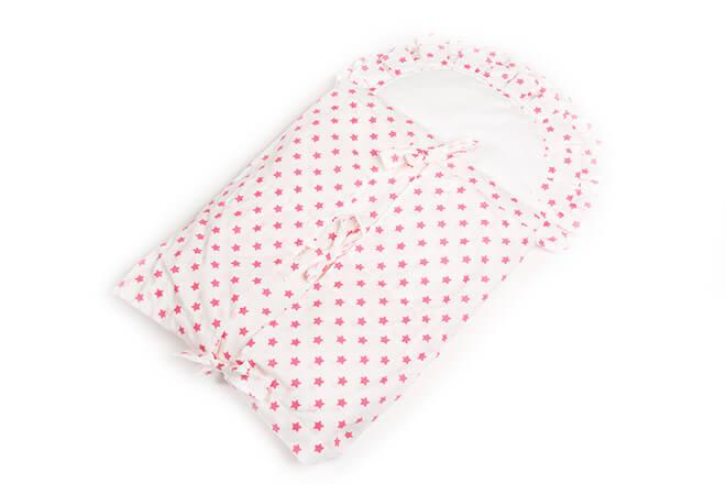 Zavinovačka s tkanicemi a kanýrem bílá/hvězdičky růžové