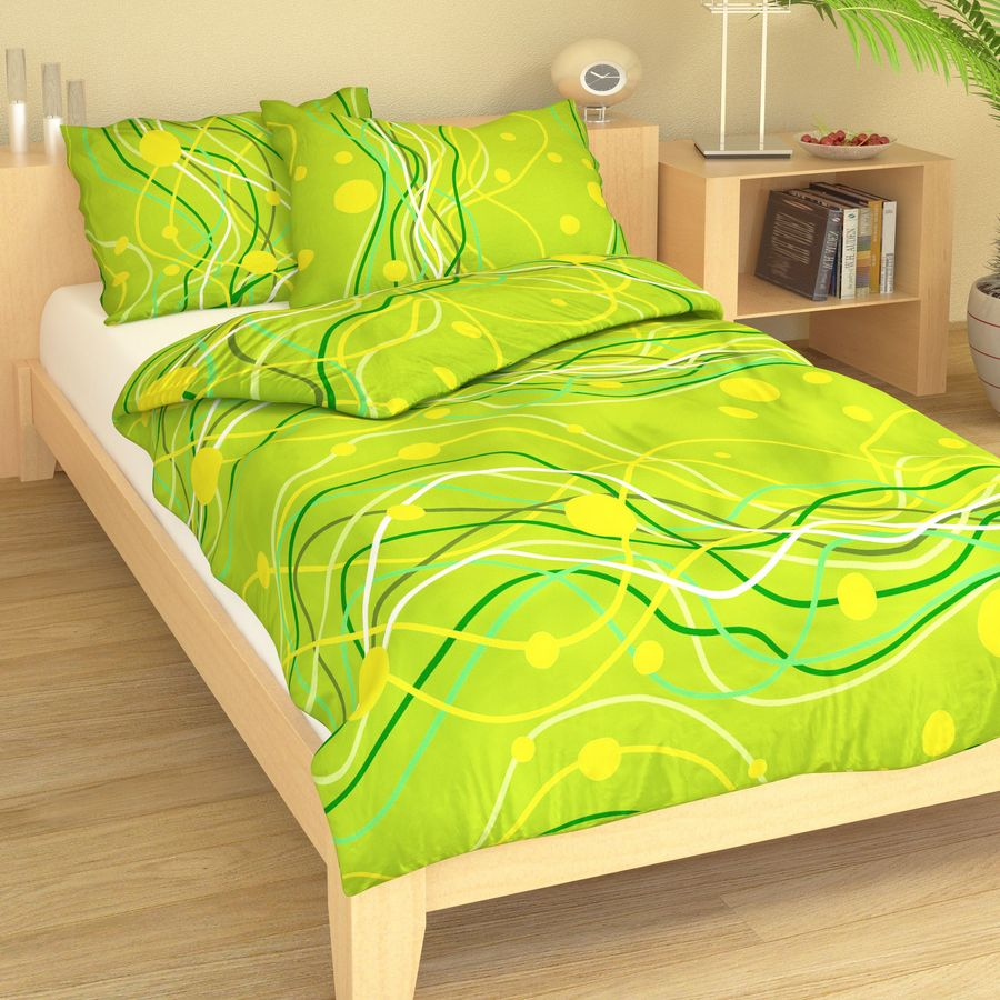 Krepové povlečení vlnky na žluto-zelené 9363-63