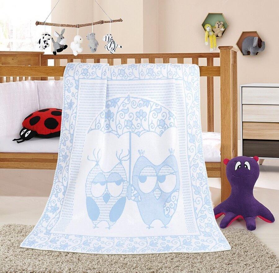 Dětská deka sova modrá