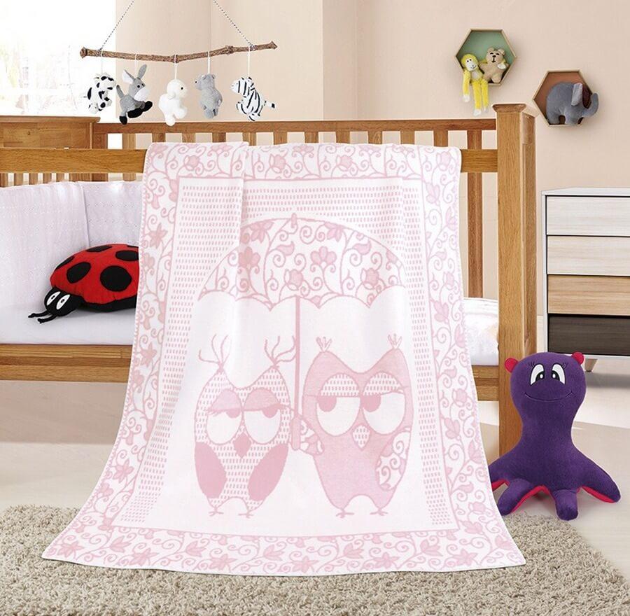 Dětská deka sova růžová
