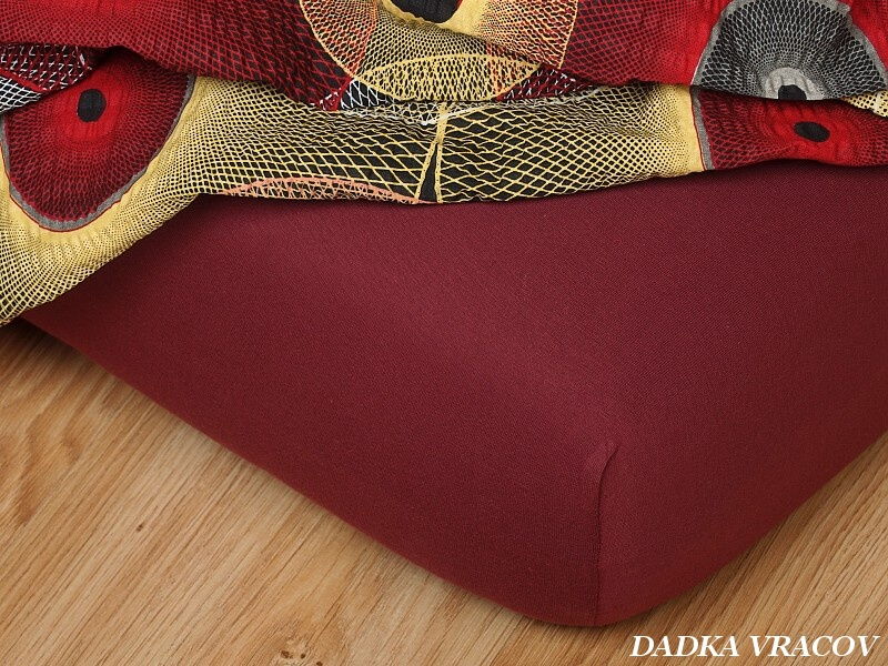 Jersey prostěradlo bordó