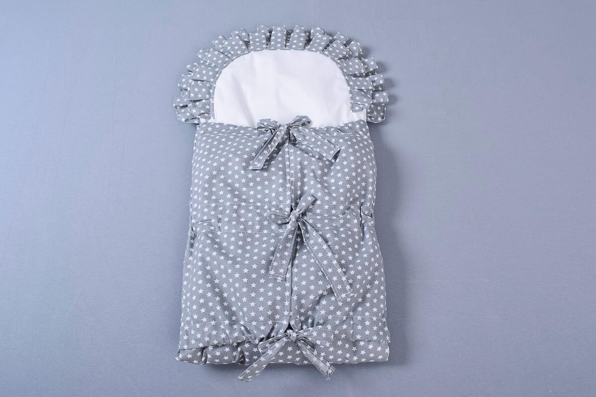 Zavinovačka s tkanicemi a kanýrem šedá/hvězdičky bílé