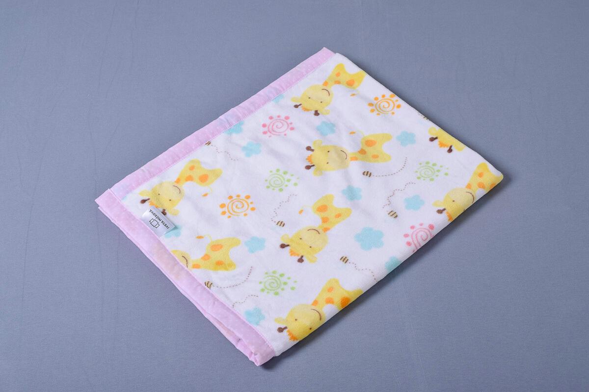 Dětská deka žirafy/hvězdičky na růžové lem