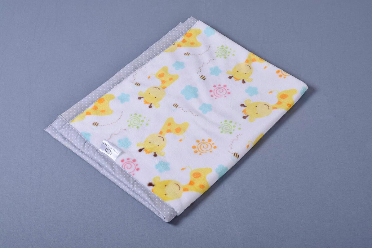 Dětská deka žirafy/hvězdičky na šedé lem