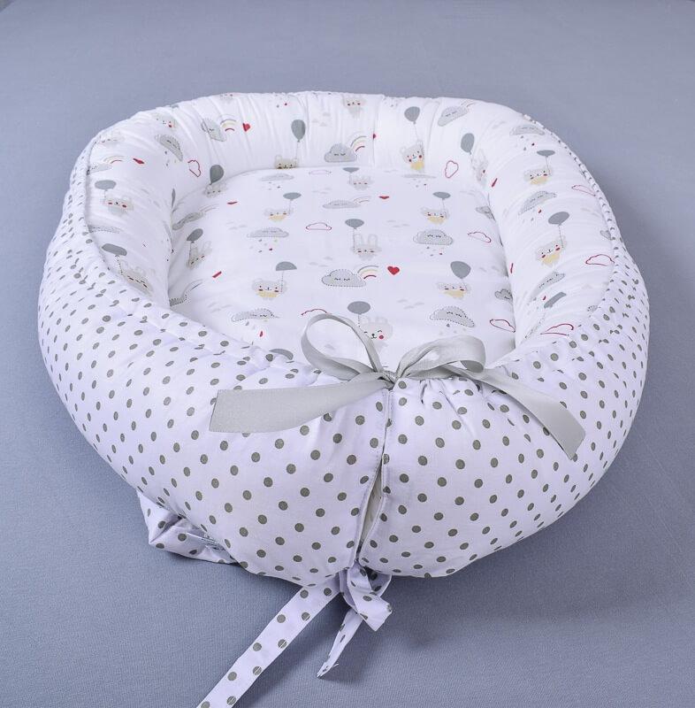 Hnízdečko pro miminko zajíček s medvídkem/šedý puntík