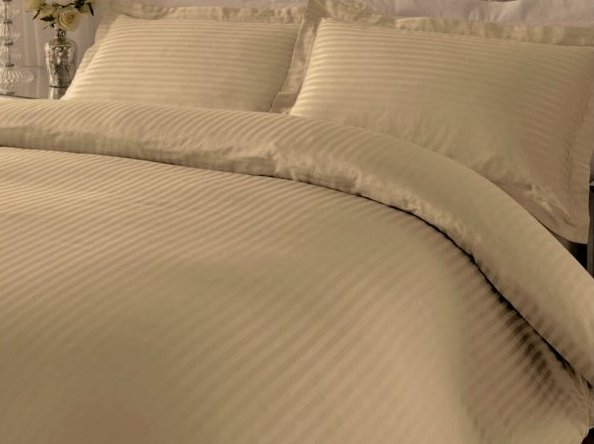 Bavlněný satén béžová 20 mm hotelový pruh