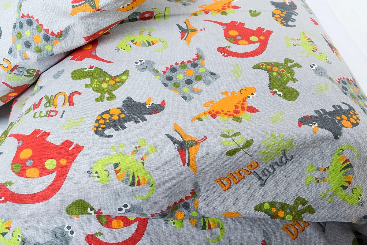 Dětské povlečení bavlna veselí dinosauři na šedé