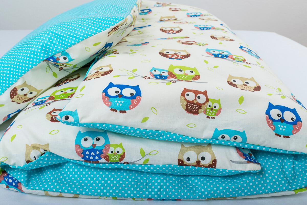Dětské povlečení bavlna sovičky/puntík na tyrkysové