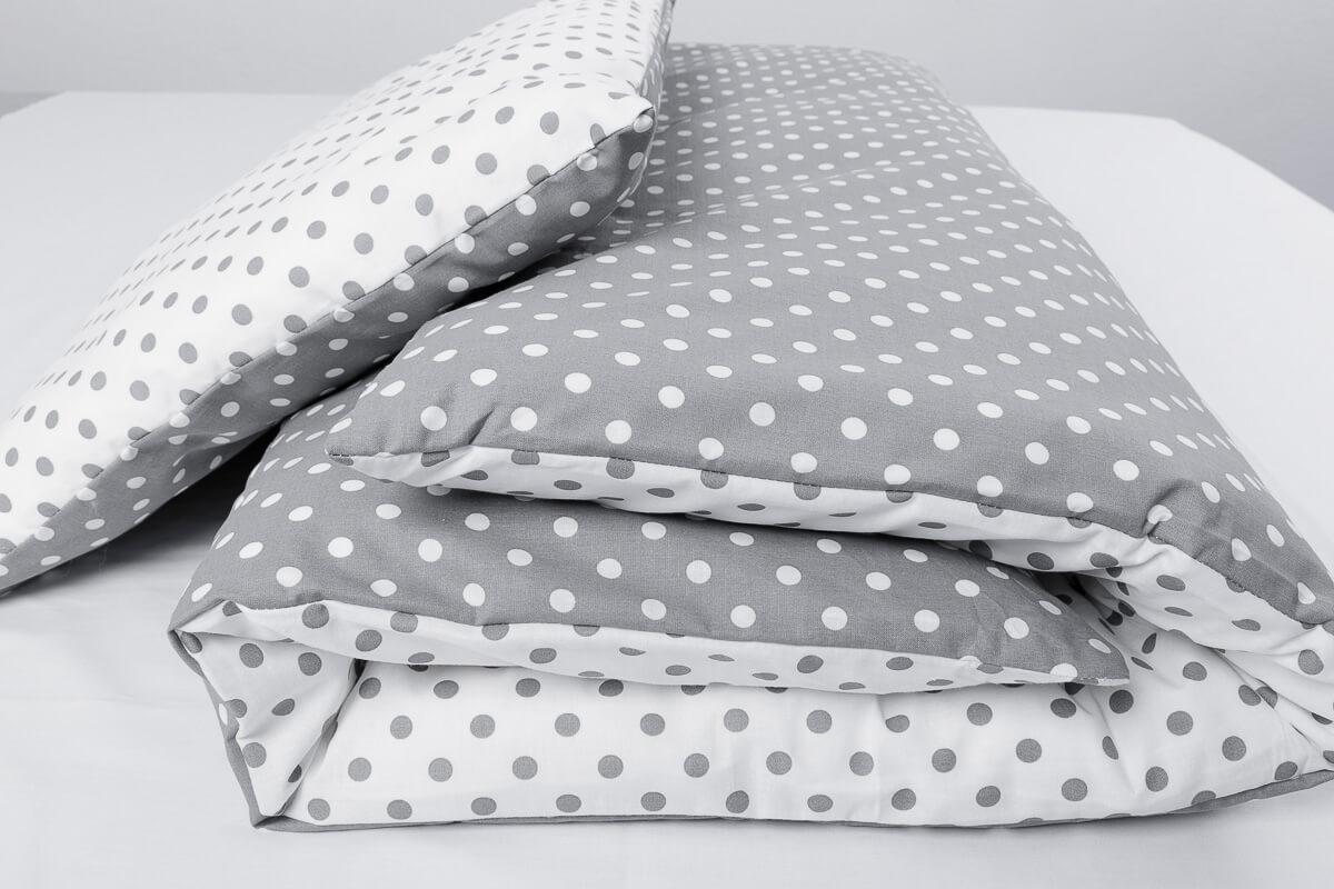 Dětské povlečení bavlna puntíky šedé do kombinace