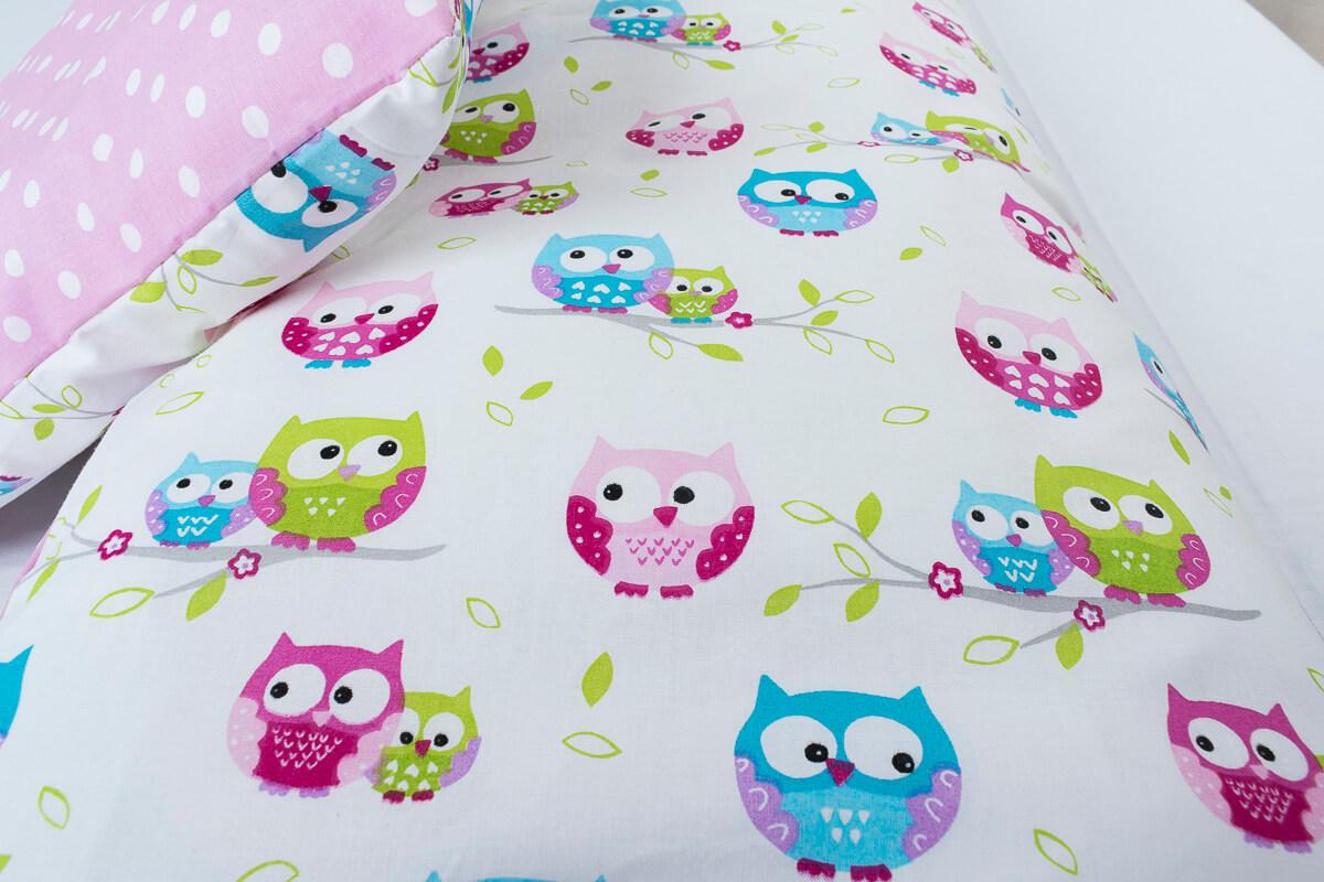Dětské povlečení bavlna sovičky/puntík na růžové