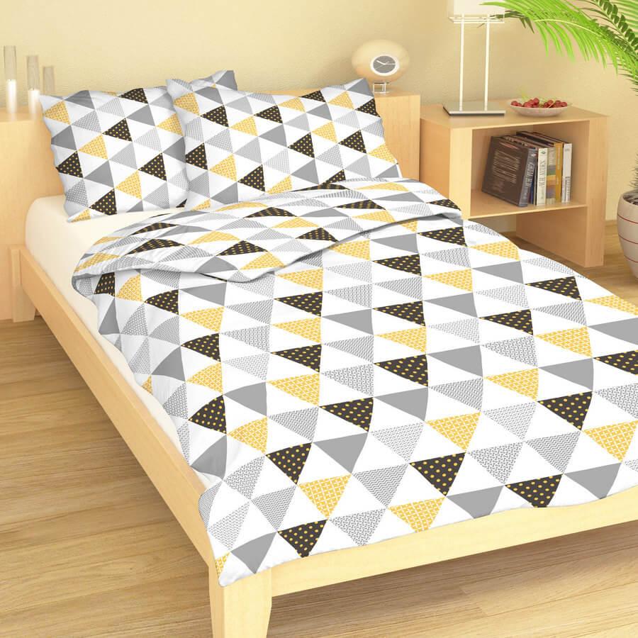 Bavlněné povlečení trojúhelníky žluto-šedé 9416-34