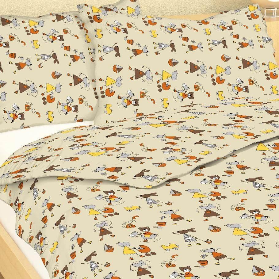 Dětské povlečení bavlna myšky krémové 151-125