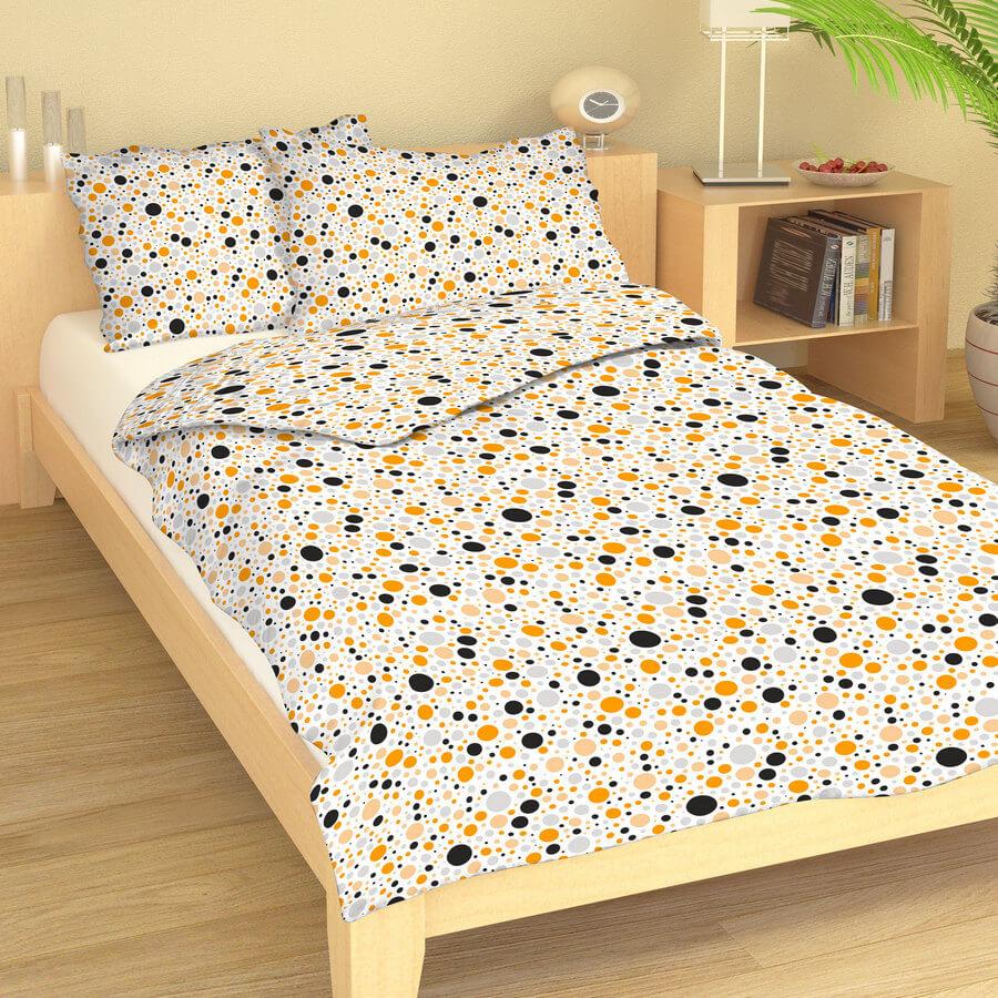 Krepové povlečení puntíky oranžovo-šedé 9419-42