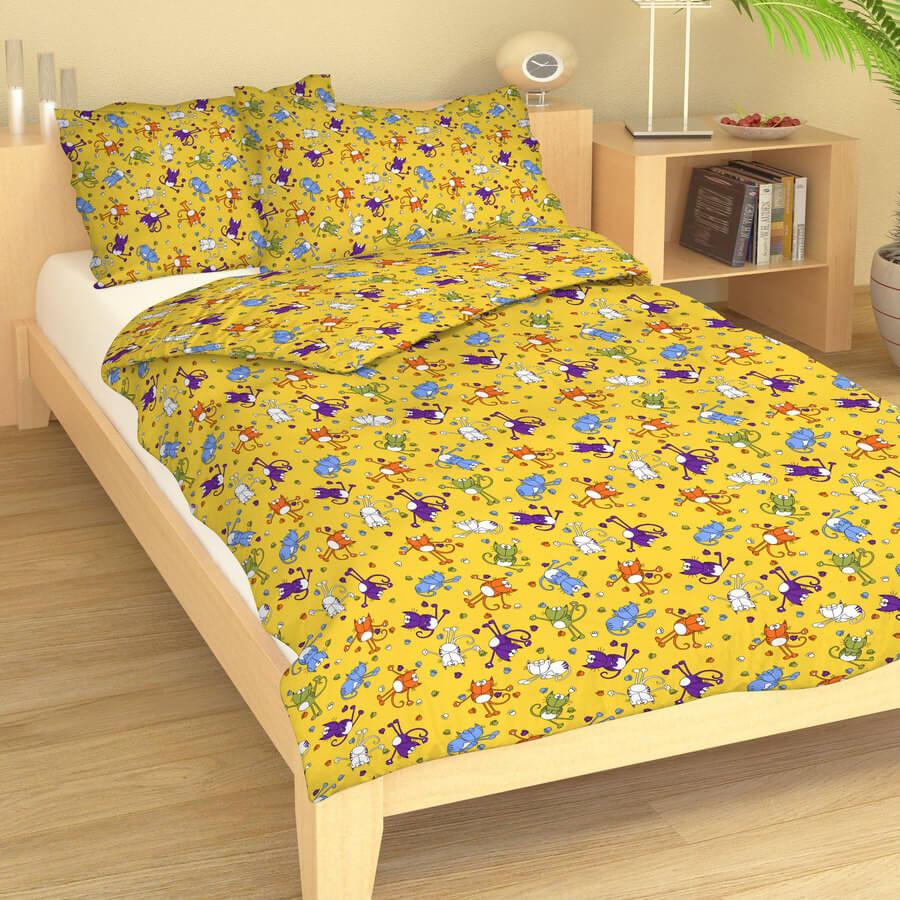 Dětské povlečení bavlna kočky na žluté 9400-611