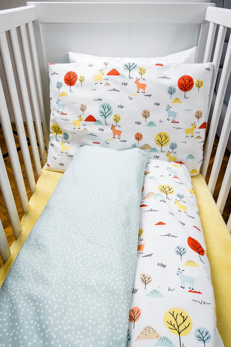 Dětské povlečení bavlna kozička do kombinace s mentolovými puntíky