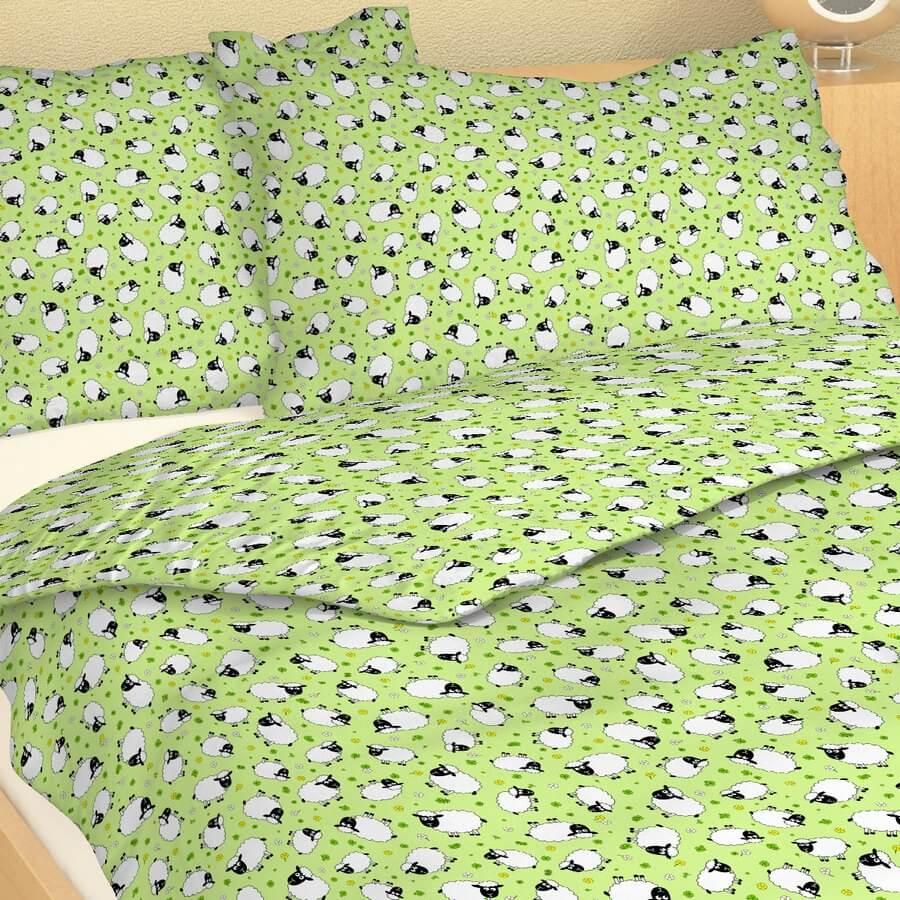 Dětské povlečení bavlna beránci na zeleném podkladu 1000247-122