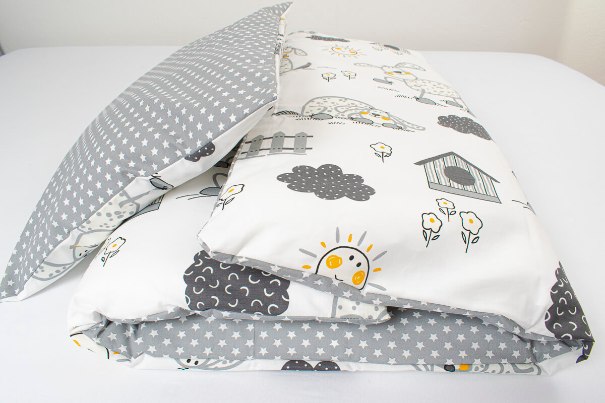 Dětské povlečení bavlna šedí pejsci s hvězdičkami