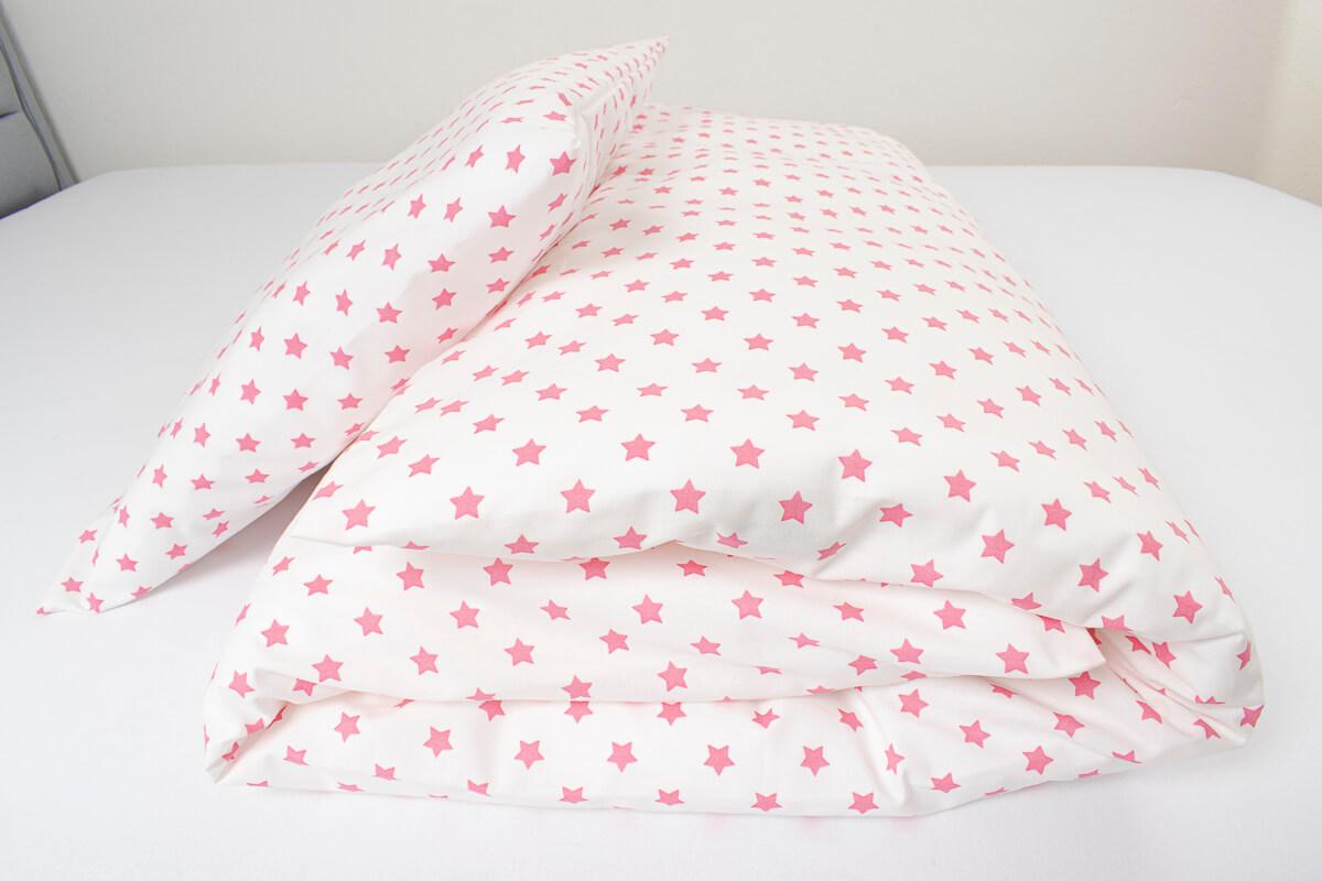 Povlečení bavlna růžové hvězdičky na bílém podkladu